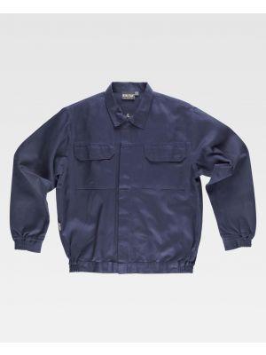 Chaquetas de trabajo workteam cazadora cuello camisero cremallera metal y velcro de 100% algodón vista 1