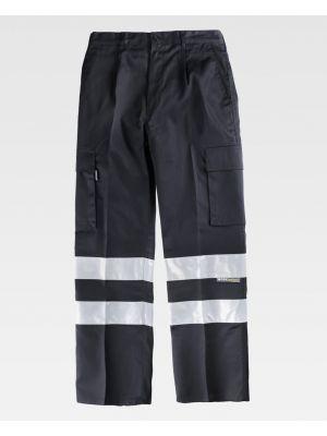 Pantalones reflectantes workteam recto con cintas reflectantes de poliéster imagen 1