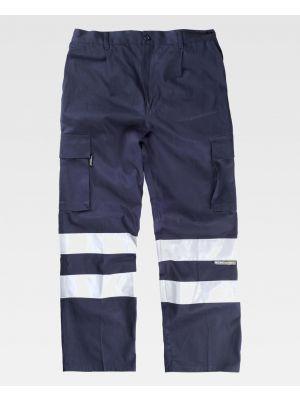 Pantalones reflectantes workteam recto algodon cintas reflectantes de 100% algodón vista 1