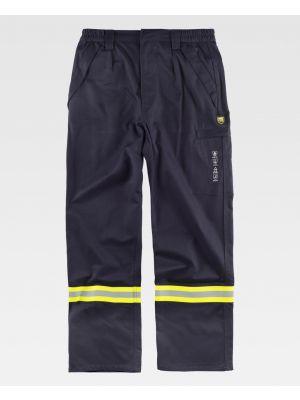 Pantalones reflectantes workteam inifugo, antiestatico de algodon para personalizar vista 1
