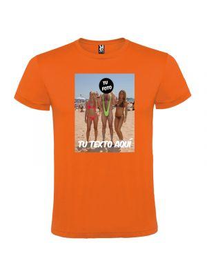 Camisetas despedida hombre para fiestas con diseño de hombre en bañador 100% algodón con logo vista 1
