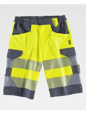 Pantalones reflectantes workteam bermuda alta visibilidad de poliéster para personalizar vista 1