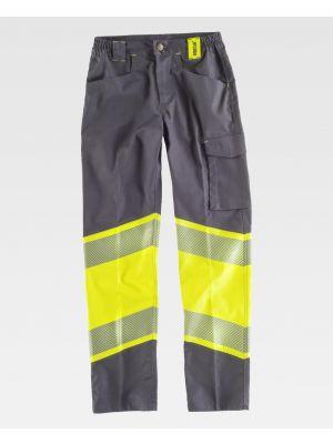 Pantalones reflectantes workteam tejido elastico bidireccional combinado de poliéster imagen 1