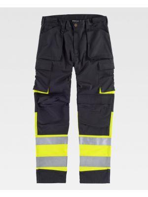 Pantalones reflectantes workteam combinado y dos bolsillos de poliéster vista 1