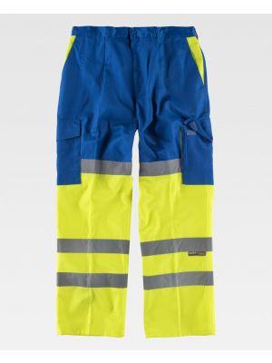 Pantalones reflectantes workteam combinado con refuerzos alta visibilidad de poliéster imagen 1