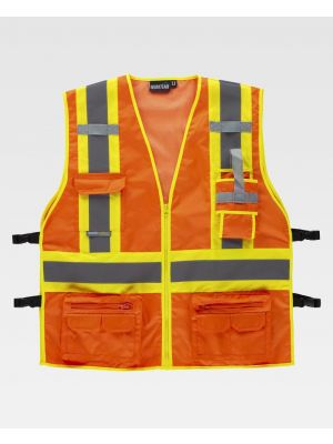 Chalecos reflectantes workteam tejido oxford reflectante fluorescente con ajustes laterales vista 1