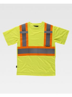 Camisetas reflectantes workteam reflectante fluorescente mc de poliéster imagen 1