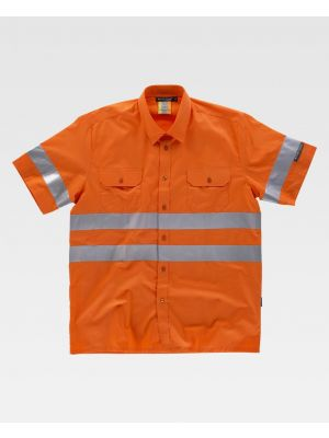 Camisas reflectantes workteam mc alta visibilidad cintas reflectantes de poliéster imagen 1