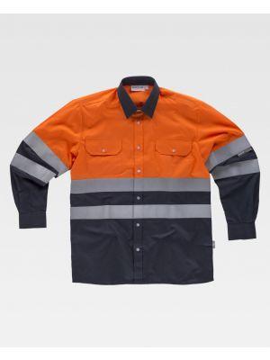 Camisas reflectantes workteam ml combinada cintas reflectantes de poliéster vista 1