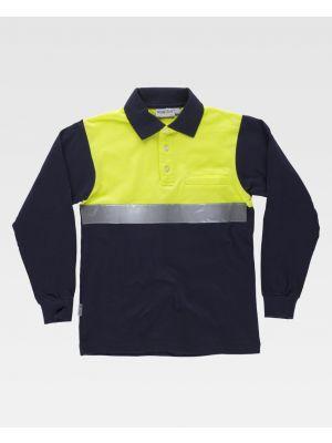 Polos reflectantes workteam combinado ml tejido pique algodon con cinta reflectante de poliéster vista 1