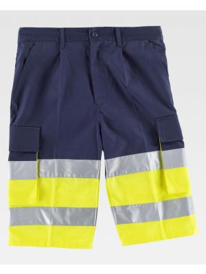 Pantalones reflectantes workteam bermuda combinada alta visibilidad de poliéster imagen 1