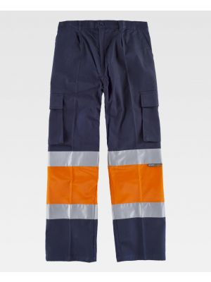 Pantalones reflectantes workteam algodon combinado alta visibilidad de 100% algodón para personalizar vista 1
