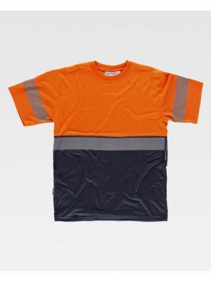Camisetas reflectantes workteam combinada mc de poliéster para personalizar vista 1