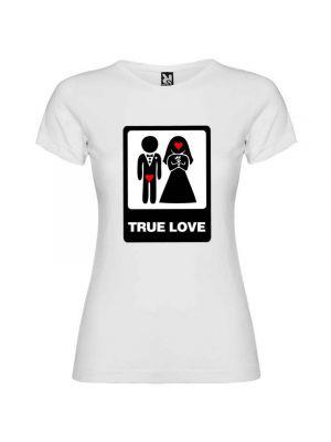 Camiseta blanca para mujer con diseño true love especial para despedidas de soltero con impresión vista 1