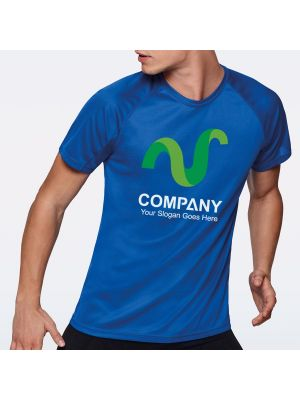 Camisetas técnicas roly bahrain de poliéster con publicidad vista 1