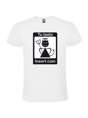 Camisetas despedida hombre diseño insert coin unisex 100% algodón vista 1
