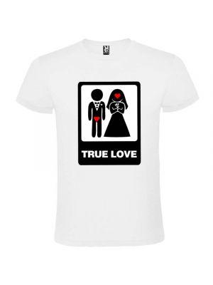 Camisetas despedida hombre blanca de despedidas unisex con dibujo true love 100% algodón imagen 1
