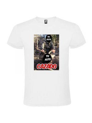 Camisetas despedida hombre para novios blanca con diseño de cazador 100% algodón con logo vista 1