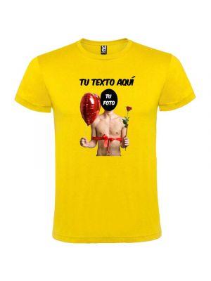 Camisetas despedida hombre de manga corta con diseño de globo y flor 100% algodón con impresión vista 1