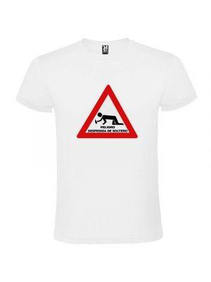 Camisetas despedida hombre blanca de manga corta con diseño de señal de peligro 100% algodón con logo vista 1
