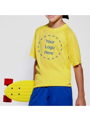 Camisetas técnicas roly montecarlo niño de poliéster con logo vista 1