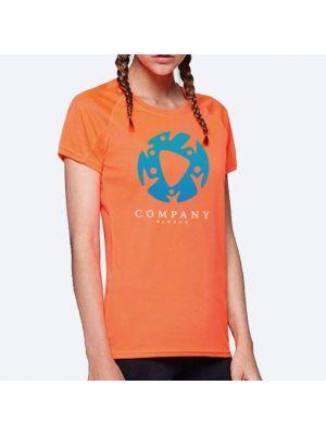 Camisetas técnicas roly barain mujer de poliéster con publicidad vista 1