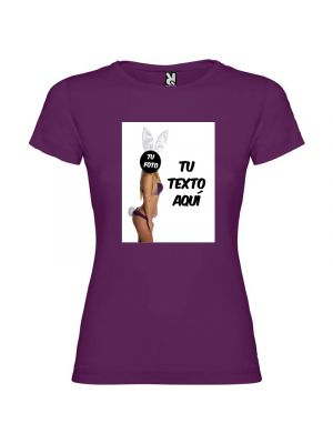 Camisetas despedida mujer de fiestas con tu foto diseño de conejita 100% algodón vista 1