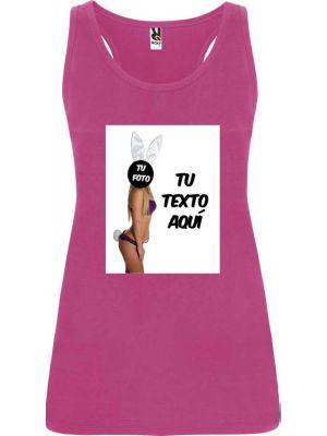 Camisetas despedida mujer de tirantes de despedida en color 100% algodón con logo vista 1