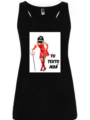 Camisetas despedida mujer de tirantes de despedida con diseño de diablesa 100% algodón vista 1