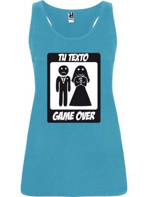 Camisetas despedida mujer de tirantes de despedida diseño game over 100% algodón vista 1