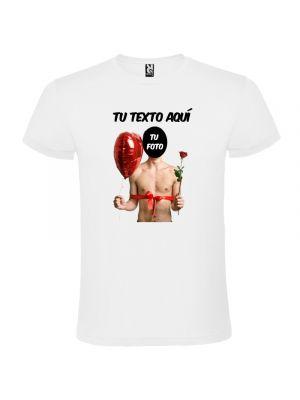 Camisetas despedida hombre blanca para despedidas con diseño de globo y flor 100% algodón vista 1