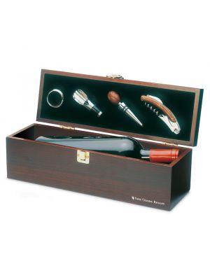 Vino y bar costieres set de vino en caja de madera con impresión vista 1