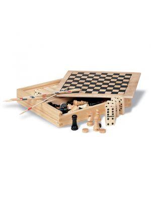 Barajas y juegos de mesa trikes 4 juegos en caja de madera de madera con impresión vista 1