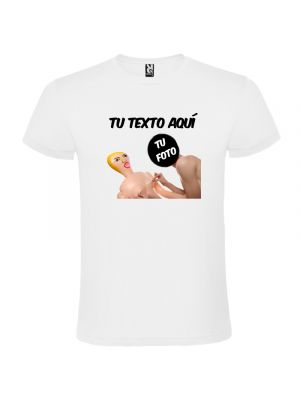 Camisetas despedida hombre blanca de manga corta con diseño de muñeca hinchable 100% algodón con logo vista 1