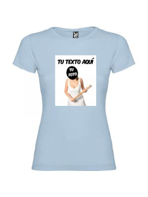 Camisetas despedida mujer ajustada con diseño de novia con bate para poner tu foto 100% algodón vista 1