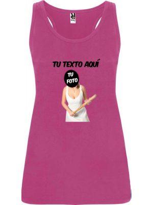 camiseta de tirantes de despedida novia con bate para mujer en color vista 1