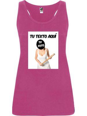 Camisetas despedida mujer de tirantes para despedida con diseño de novia con bate 100% algodón vista 1