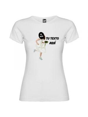 Camiseta blanca de despedida de soltera novia a la fuga con tu foto con impresión vista 1