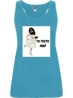Camisetas despedida mujer de tirantes de despedida en color con diseño de novia corriendo 100% algodón vista 1