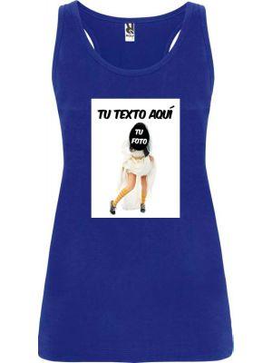 Camisetas despedida mujer de tirantes de despedida con foto de novia en zapatillas 100% algodón con logo vista 1