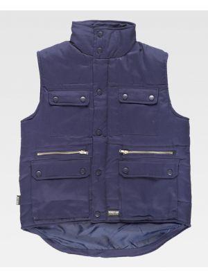 Chalecos de trabajo workteam chaleco acolchado cuello alto algodon de 100% algodón con impresión imagen 1