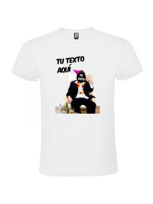 Camisetas despedida hombre blanca de fiesta con foto de borracho 100% algodón imagen 1