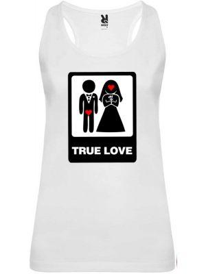 Camiseta blanca de tirantes para despedida de soltera con diseño true love vista 1
