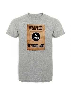 Camisetas despedida hombre de despedida estilo wanted con tu foto 100% algodón para personalizar vista 1