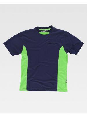 Camisetas reflectantes workteam con detales fluorescentes reflectantes de poliéster con impresión vista 1