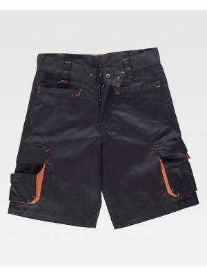 Pantalones reflectantes workteam bermuda con detalles fluorescente de poliéster con impresión imagen 1