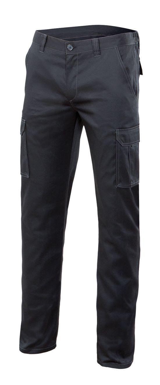 Pantalones de trabajo velilla stretch multibolsillos 103002s de algodon con logotipo imagen 1