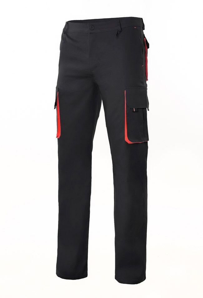 Pantalones de trabajo velilla bicolor multibolsillos 103004 de algodon con logotipo imagen 1