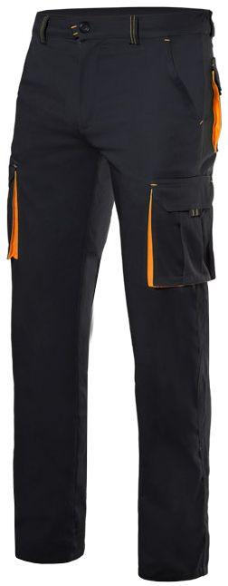 Pantalones de trabajo velilla stretch bicolor multibolsillos de poliéster con logotipo imagen 1
