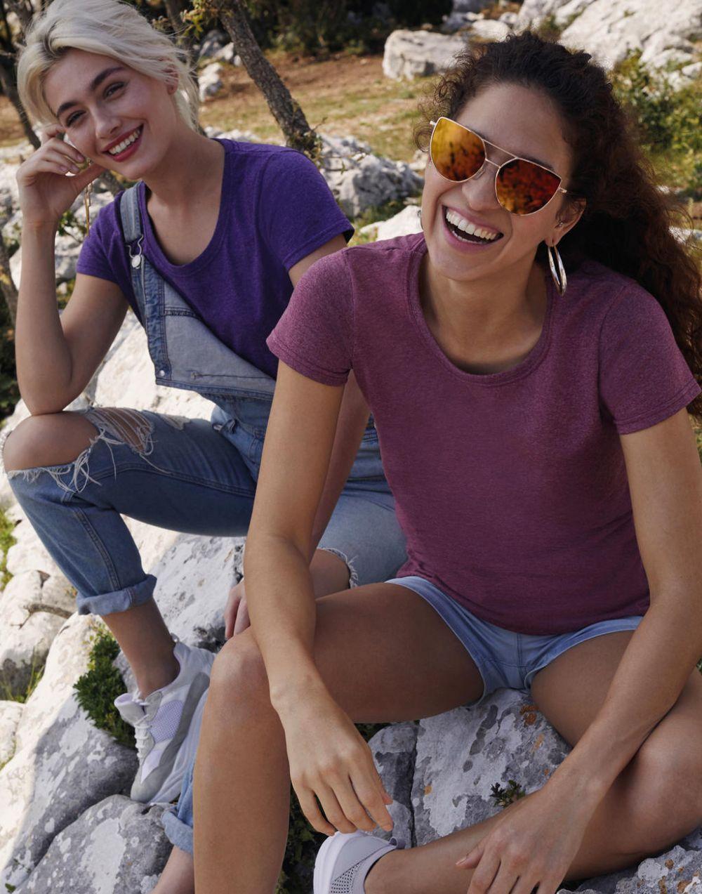 Camisetas manga corta fruit of the loom valueweight corte femenino con publicidad vista 1
